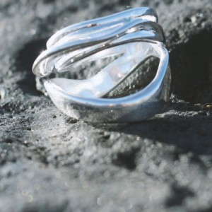 silver modern style ring